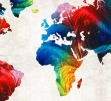 World Map 19 - Colorful Art By Sharon Cummings  Sticker