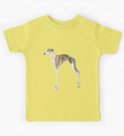 Tall Dog Whippet- White Background Kids Tee
