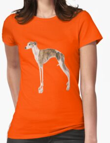 Tall Dog Whippet- White Background Womens Fitted T-Shirt