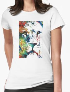 Colorful Lion Art By Sharon Cummings Womens Fitted T-Shirt