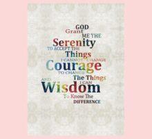 Colorful Serenity Prayer by Sharon Cummings Kids Tee