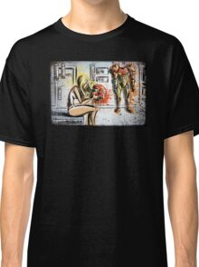 Metroid, Art, shamus, nintendo 64, nintendo, gamecube, video game, girl, robot, machine, underwear, christmas, present, joe badon Classic T-Shirt