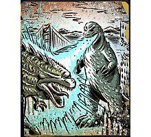 Godzilla, Japan, Japanese, USA, 60's, 50's, 40's, 70's, 80's, 90's, Art print, Illustration, 2014, Geekery, Kaiju, Monster,Poster, Christmas Gift, joe badon Photographic Print