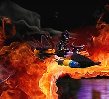 Batman Boat Flying through Flames by Darlene Lankford Honeycutt