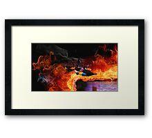 Batman Boat Flying through Flames Framed Print