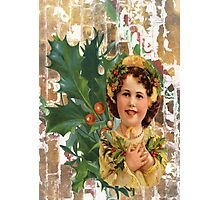Victorian Merry Christmas Holly Girl Photographic Print