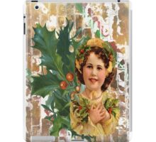 Victorian Merry Christmas Holly Girl iPad Case/Skin