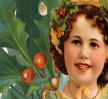 Victorian Merry Christmas Holly Girl Sticker