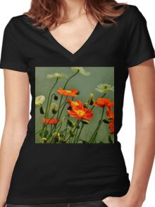 California Poppies  Women's Fitted V-Neck T-Shirt