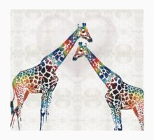 Colorful Giraffe Art - I've Got Your Back - By Sharon Cummings One Piece - Short Sleeve