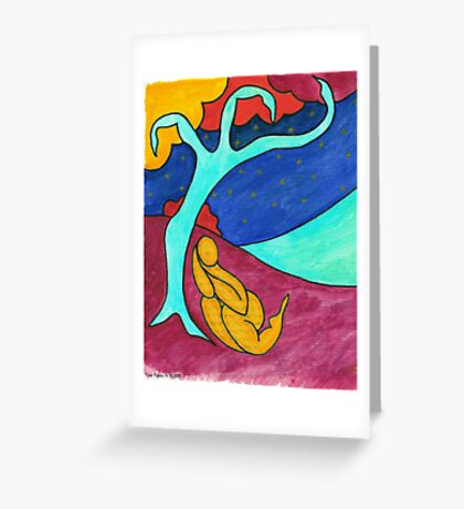 Tree figure abstract landscape Greeting Card