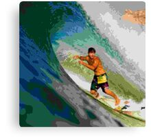 Surfing The Curl Canvas Print