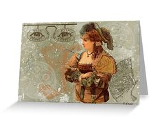 Green Victorian Steam Punk Lady Eyes Greeting Card