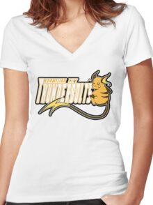 Vermilion City Thunderbolts: Raichu Sports Logo Women's Fitted V-Neck T-Shirt