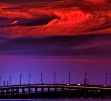 Sunset over Punta Gorda bridge Sticker