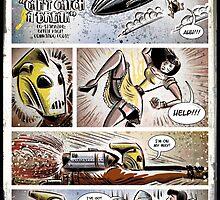Rocketeer, Art, bettie page, betty page, joe badon, rocketeer, commando cody, comic book, art, print, illustration, cartoon, girl, zeppelin, female by Joe Badon