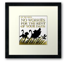 """""""It means no worries for the rest of your days. Hakuna Matata!"""" - Lion King Framed Print"""