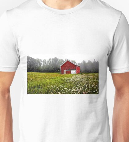 Red Barn - Field of White Daisies Unisex T-Shirt