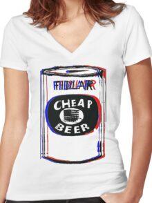 FIDLAR- Cheap Beer Women's Fitted V-Neck T-Shirt