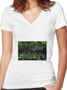Cyber Warriors Logo Women's Fitted V-Neck T-Shirt