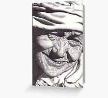 Elderly Woman, Khokana, Nepal, Ink Drawing Greeting Card