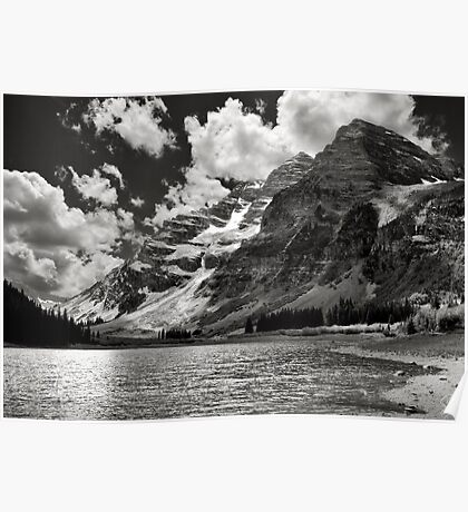 Crater Lake In Black and White Poster