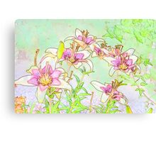 Pink And White Lilies - Digital Watercolor  Canvas Print