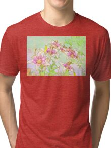 Pink And White Lilies - Digital Watercolor  Tri-blend T-Shirt