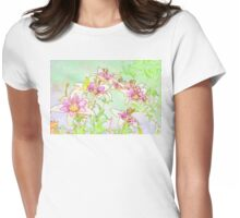 Pink And White Lilies - Digital Watercolor  Womens Fitted T-Shirt