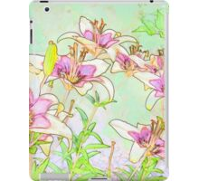 Pink And White Lilies - Digital Watercolor  iPad Case/Skin