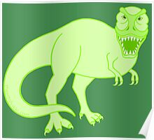 Green T Rex Dinosaur Colorful Prehistoric Animal Poster