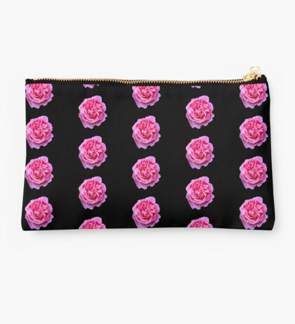 Small Pink Rose Blooms on a black background Studio Pouch