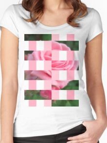 Pink Roses in Anzures 2 Art Rectangles 15 Women's Fitted Scoop T-Shirt