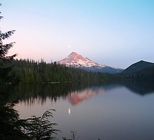 Early moonrise over Mt. Hood by Jennifer Hulbert-Hortman