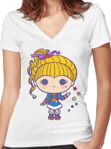 Funky Prism Girl Women's Fitted V-Neck T-Shirt