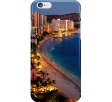 Waikiki Beach and Honolulu Skyline, Hawaii iPhone Case/Skin