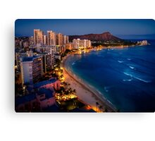Waikiki Beach and Honolulu Skyline, Hawaii Canvas Print