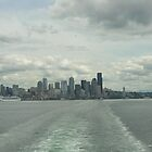 Seattle skyline on an overcast day from the ferry by Angela Fisher