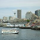 Seattle Space Needle with Buildings and Water by Angela Fisher