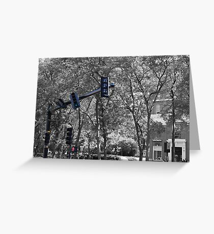 tilted traffic Greeting Card