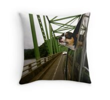 Dog Looking Out The Window in Oregon Throw Pillow