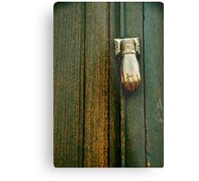 The Hand that Knocks Metal Print