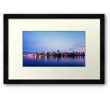 Vancouver City Skyline at Dusk Framed Print