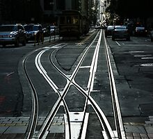 San Francisco Silver Cable Car Tracks by Georgia Mizuleva