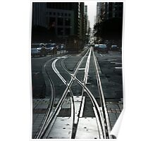 San Francisco Silver Cable Car Tracks Poster