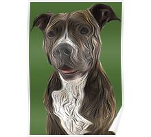 Pit Bull Terrier Oil Painting Style Poster