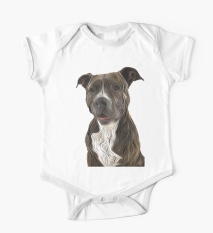 Pit Bull Terrier Oil Painting Style One Piece - Short Sleeve