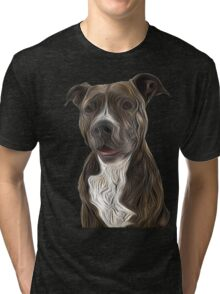 Pit Bull Terrier Oil Painting Style Tri-blend T-Shirt