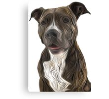 Pit Bull Terrier Oil Painting Style White Background Canvas Print