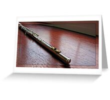 A Silver Flute in a Mirrored Frame Greeting Card
